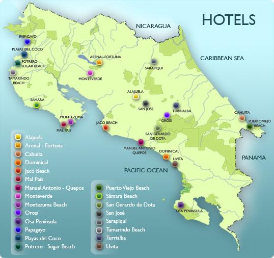 Osa Peninsula Costa Rica Hotels: Costa Rica Map Uvita